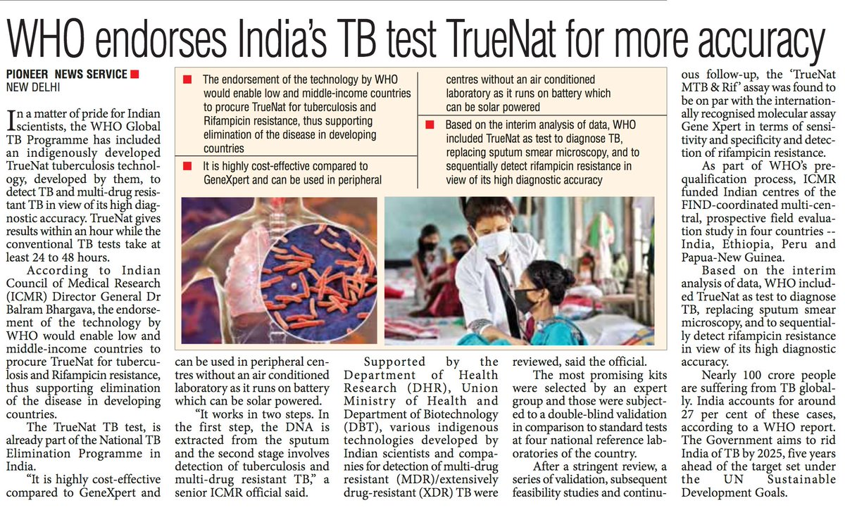 WHO endorses India s TB test Truenat for more accuracy