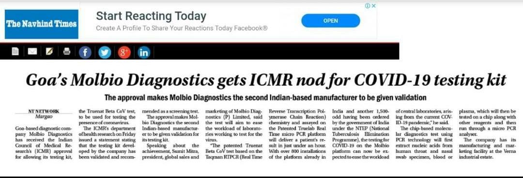ICMR has approved Truenat Beta CoV test of Molbio Diagnostics for COVID-19 Testing